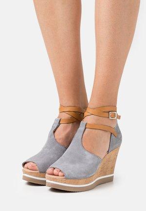 MARY - High heeled sandals - grey/tan