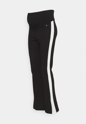 PANTS FLARED PIPING SPLIT - Tracksuit bottoms - black