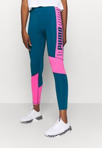 Puma - TRAIN LOGO HIGH RISE - Leggings - digi blue/luminous pink - 0