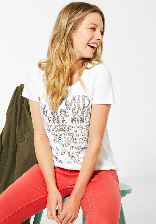 MIT SCHRIFTZUG - T-shirt print - weiß