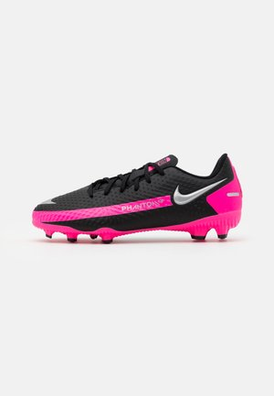 JR PHANTOM GT ACADEMY MG UNISEX - Moulded stud football boots - black/metallic silver/pink blast