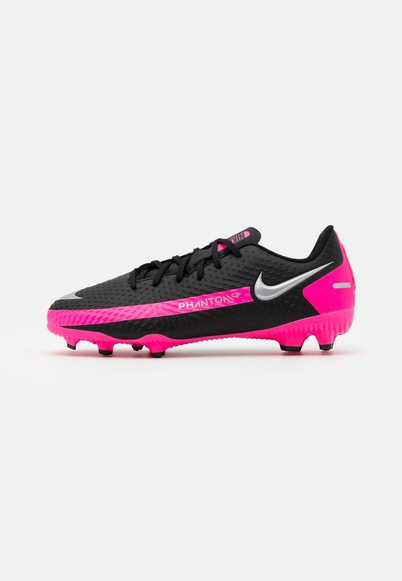 Nike Performance - JR PHANTOM GT ACADEMY MG UNISEX - Moulded stud football boots - black/metallic silver/pink blast