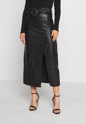 LEAT WRAP PENCIL - Pencil skirt - black