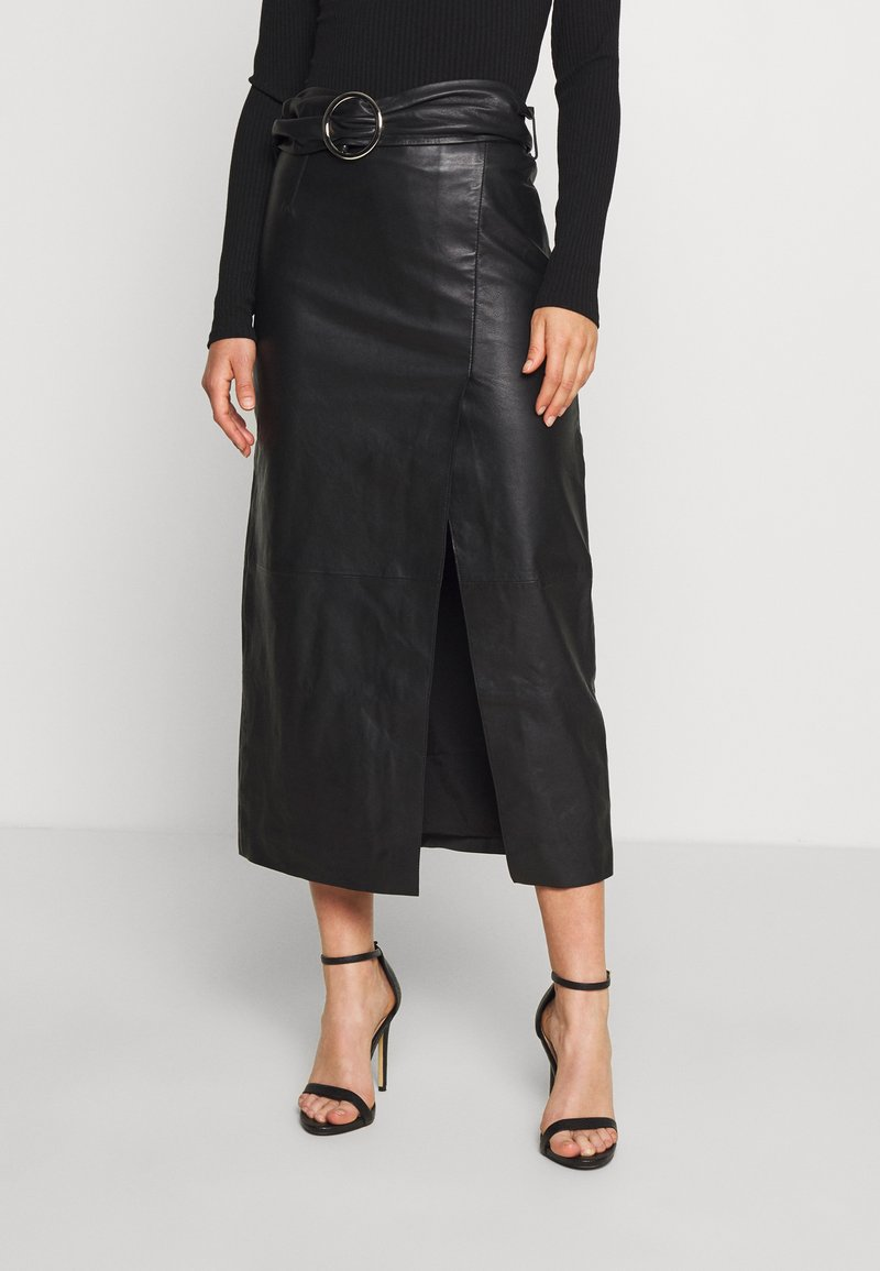 Topshop - LEAT WRAP PENCIL - Pencil skirt - black
