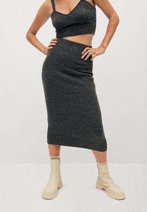 TALDORA - Pencil skirt - gris chiné foncé