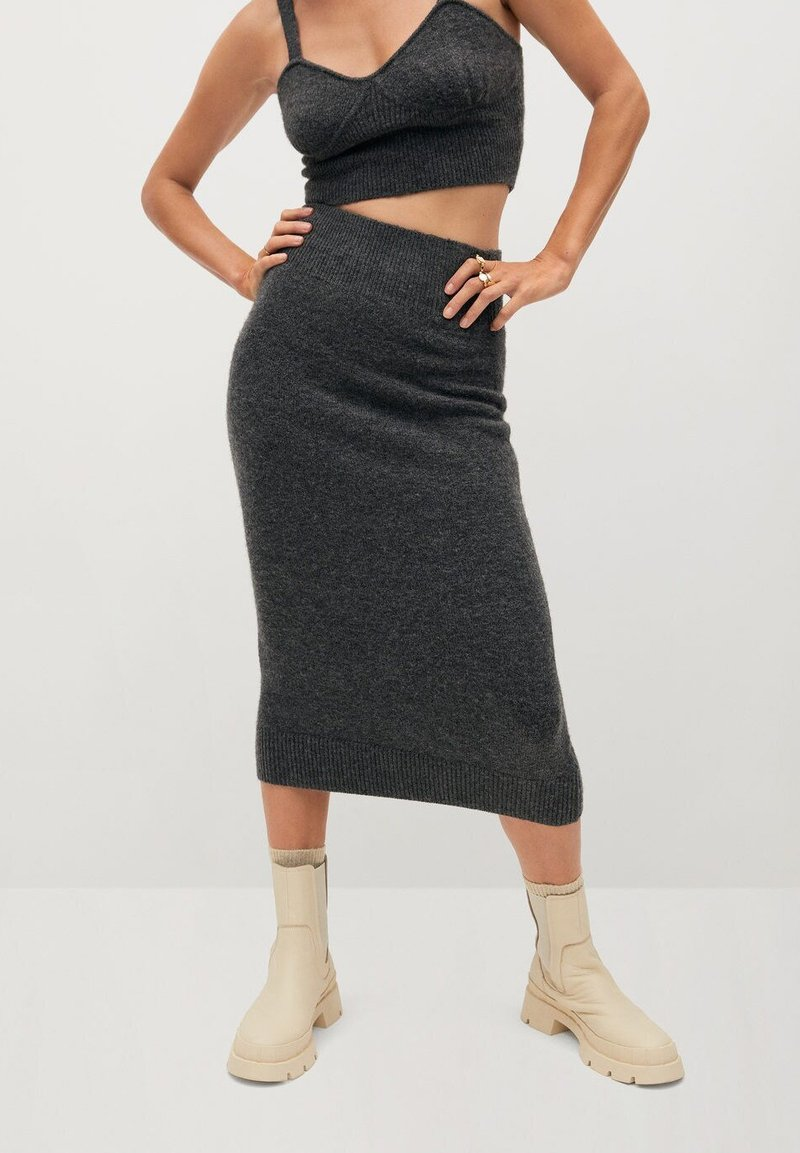 Mango - TALDORA - Pencil skirt - gris chiné foncé
