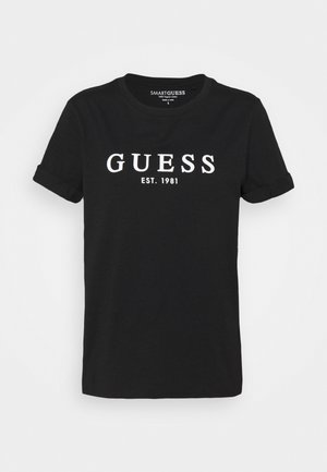ROLL CUFF TEE - Print T-shirt - jet black