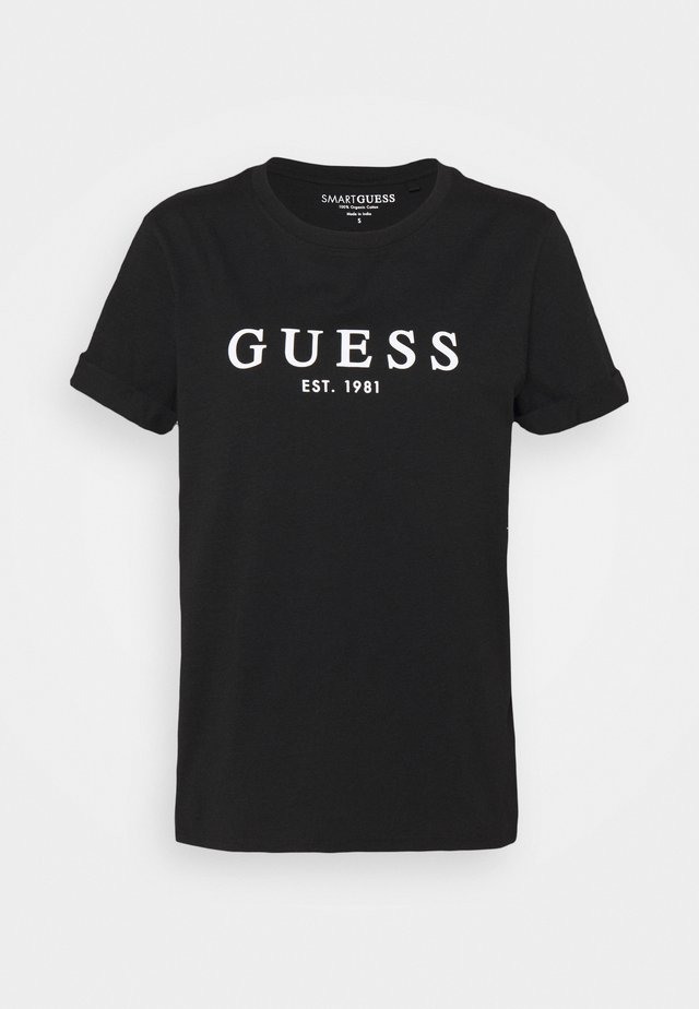 ROLL CUFF TEE - T-shirt z nadrukiem - jet black