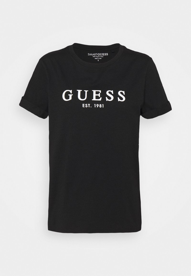 Guess - ROLL CUFF TEE - Printtipaita - jet black