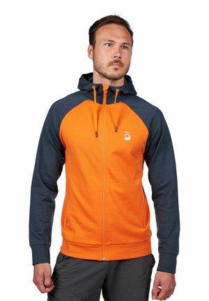 Sweatjakke - oransje og blå