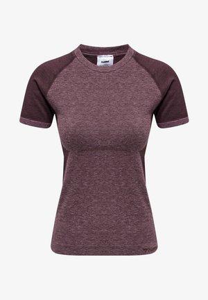 COCO SEAMLESS - Print T-shirt - fudge/woodrose melange