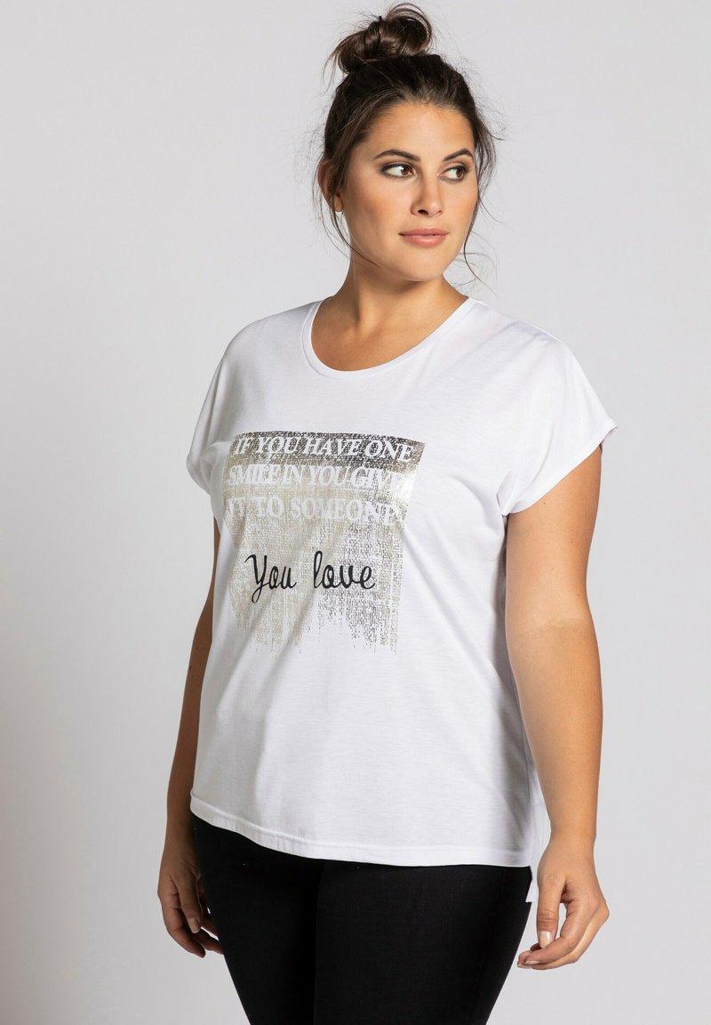 Ulla Popken - STATEMENT FOIL  - Print T-shirt - blanc