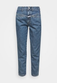 PEDAL PUSHER - Jean slim - mid blue wash