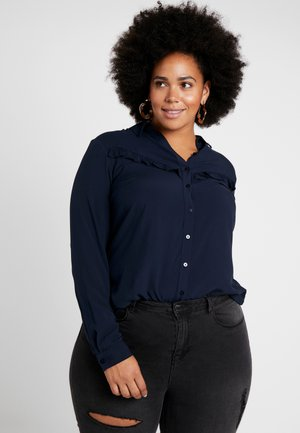 PRINTED SHIRT WITH FRILL - Overhemdblouse - sky captain blue