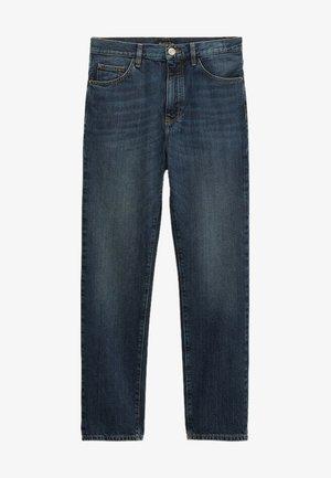 MIT HALBHOHEM BUND  - Straight leg jeans - dark blue