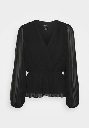 PLEATED WRAP BLOUSE - Blouse - black