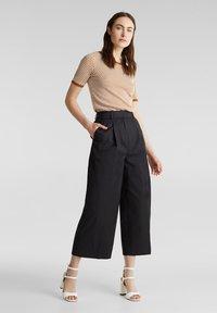Esprit Collection - HIGH RISE CULOTTE - Trousers - black - 1
