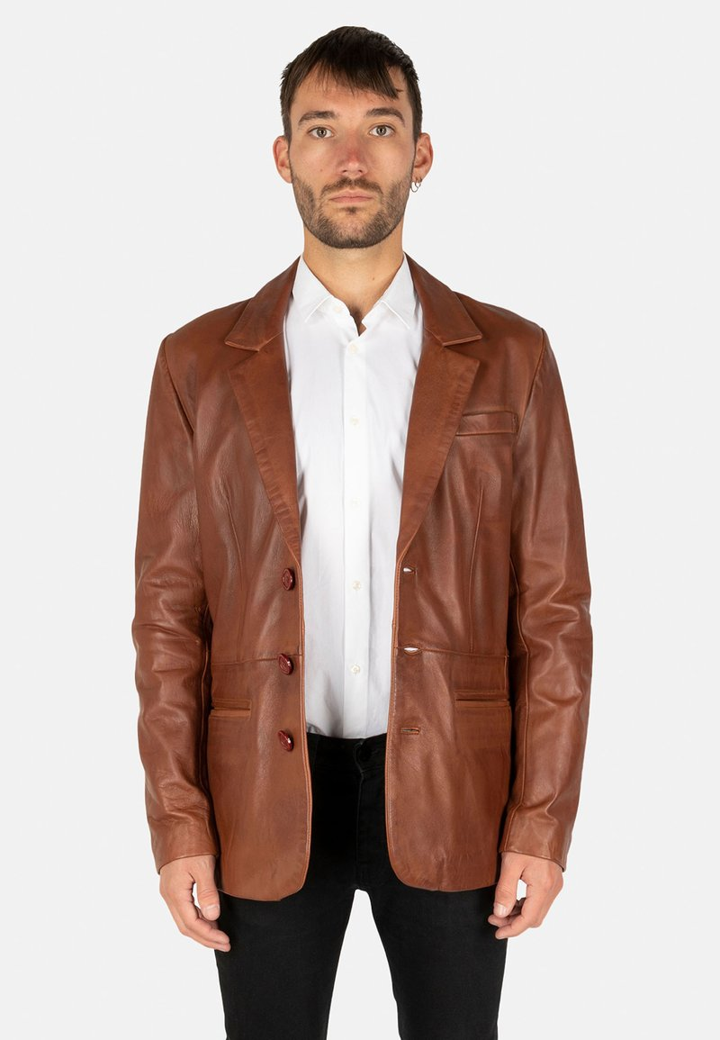 LEATHER HYPE - HYPE BLAZER - Leather jacket - cognac brown