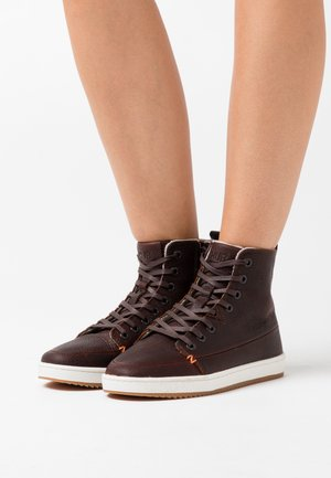 BASE - Ankle boots - dark brown/offwhite