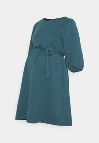 MAMALICIOUS - MLINA SHORT DRESS - Žerzejové šaty - mallard blue - 0