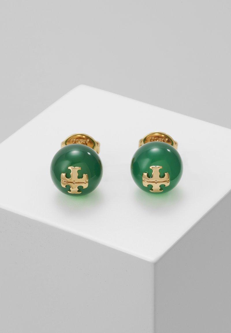 Tory Burch - SEMI PRECIOUS STUD EARRING - Náušnice - gold-coloured/dark jade