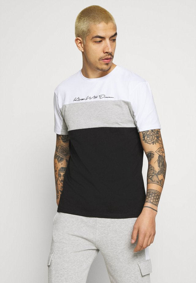 MENLO COLOUR BLOCK TEE - T-shirt imprimé - black/greymarl/white