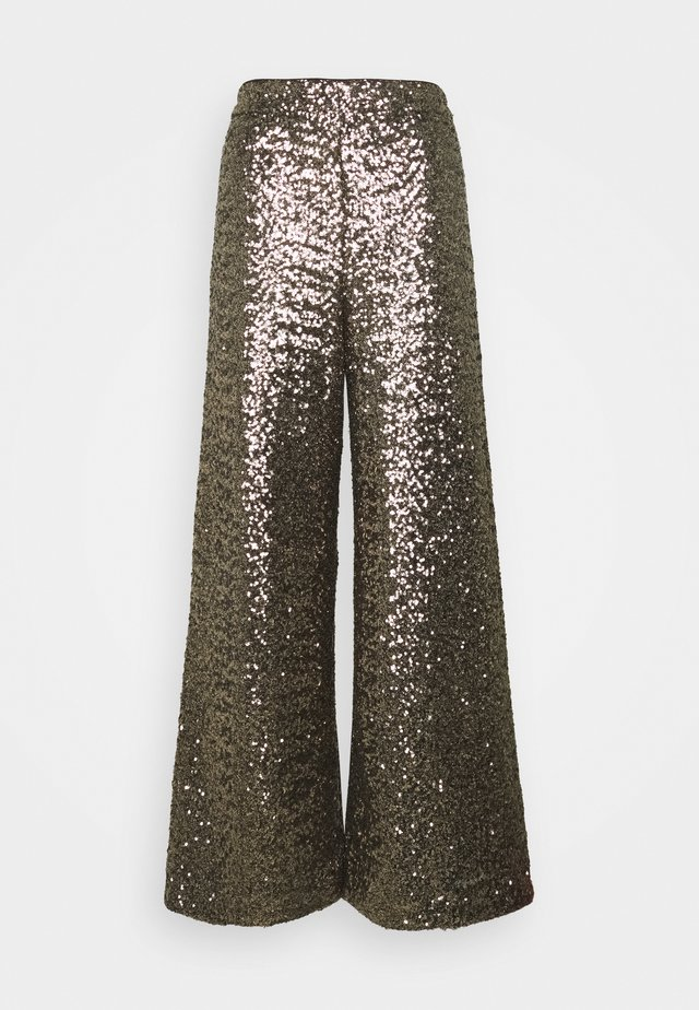 EWAIST WIDE LEG CLUSTER SEQUIN - Trousers - bold bronze
