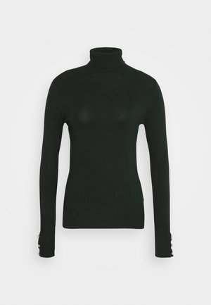 SUSTAINABLE PEARL BUTTON CUFF ROLL NECK JUMPER - Jumper - forest
