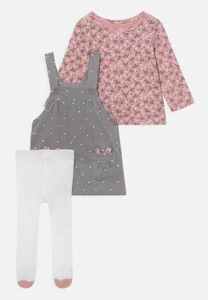 SET - Leggings - Stockings - mottled grey/light pink