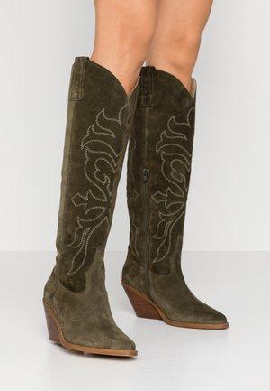 DARLA - Cowboy/Biker boots - army green