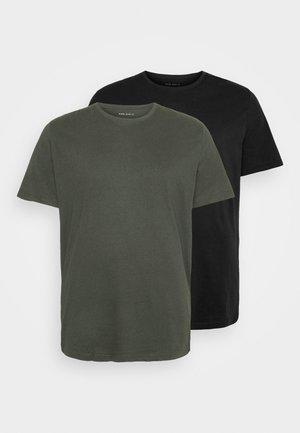 2 PACK  - T-shirt - bas - khaki_black