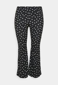 Simply Be - MONO SPOT KICK FLARE LEGGINGS - Trousers - black/white - 0