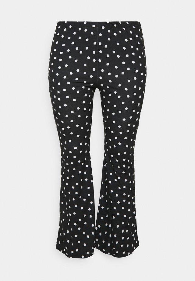 MONO SPOT KICK FLARE LEGGINGS - Kangashousut - black/white