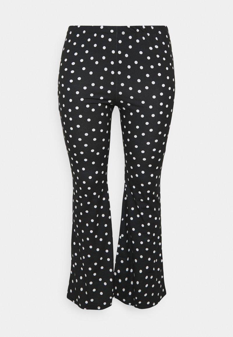 Simply Be - MONO SPOT KICK FLARE LEGGINGS - Trousers - black/white