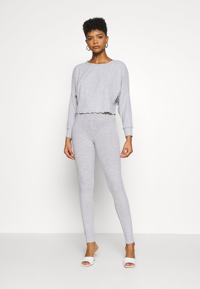 SET SLOUCH RIB TOP AND LEGGING - Legging - grey