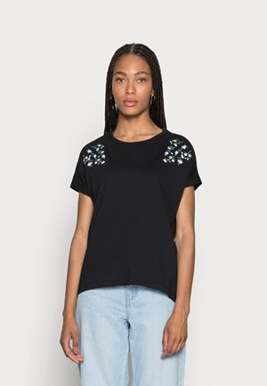 MANDALA DITSY FLOWER SHOULDER TEE - T-shirt med print - black