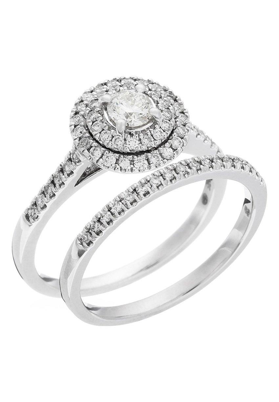 Damen WHITE GOLD RING 9K CERTIFIED 67 DIAMONDS HSI - Ring