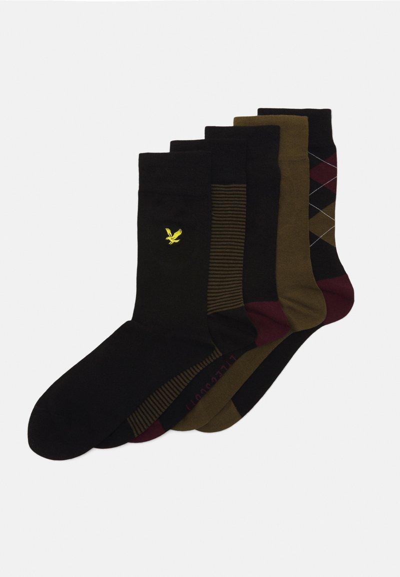 Lyle & Scott - HAROLD 4 PACK - Socks - argyle/dark olive/black