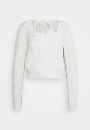 PUFF SLEEVE MILKMAID CROP JUMPER - Trui - cream