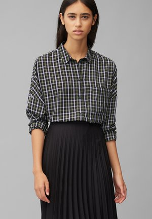 Button-down blouse - black/olive/grey