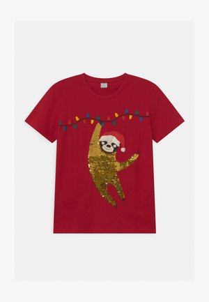 TEEN SLOTH X-MAS FLIP SEQUINS - Print T-shirt - dark red