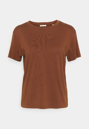 SHORT SLEEVE ROUND NECK - Jednoduché triko - chestnut brown