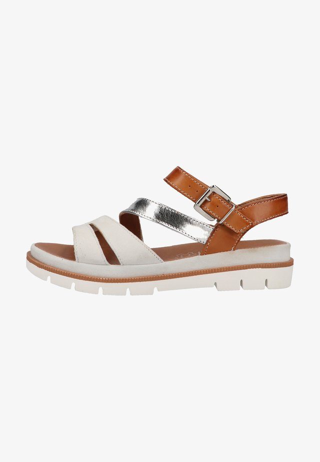 Sandalen met sleehak - white brown