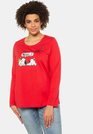 SNOOPY MOTIF - Long sleeved top - neon rot