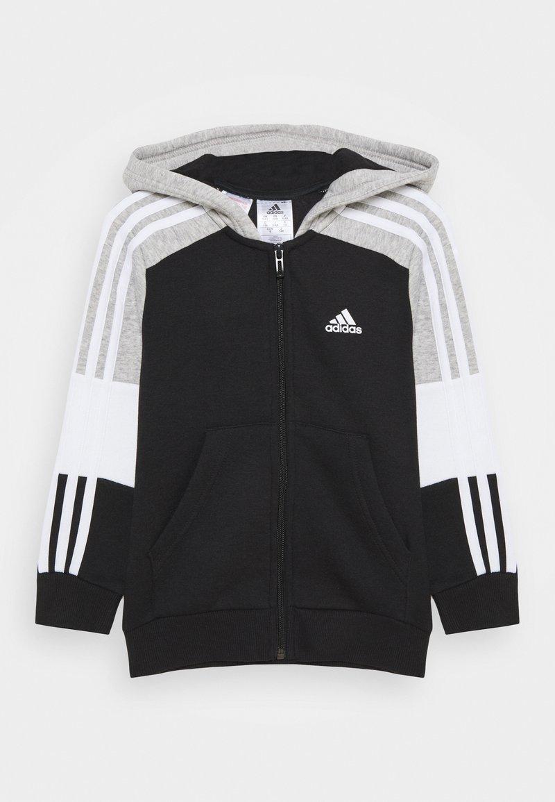 adidas Performance - Zip-up hoodie - black/medium grey heather/white