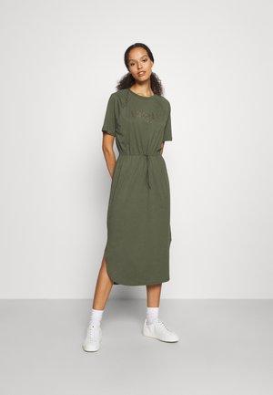 LOGO DRAWSTRING DRESS - Jerseyjurk - military green