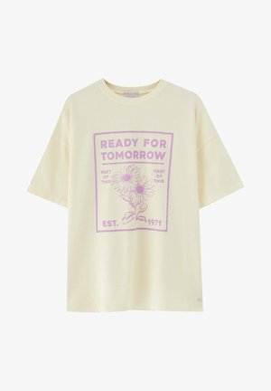 T-shirt con stampa - mottled light yellow