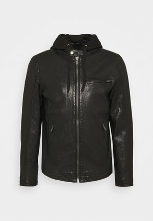 BEN HOOD - Leather jacket - black