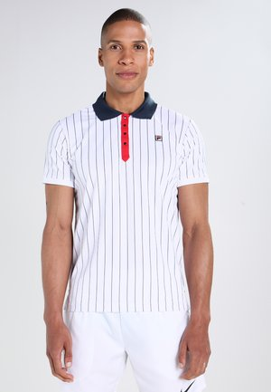STRIPES - Sports shirt - white/peacot blue/red