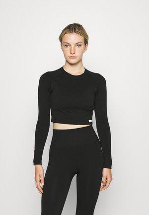 SEAMLESS CROP - Sports shirt - black beauty